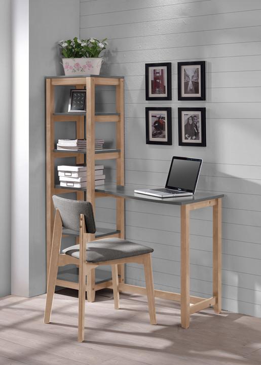 Stuhl MAZE aus Massivholz mitPolstersitz in grau & natur