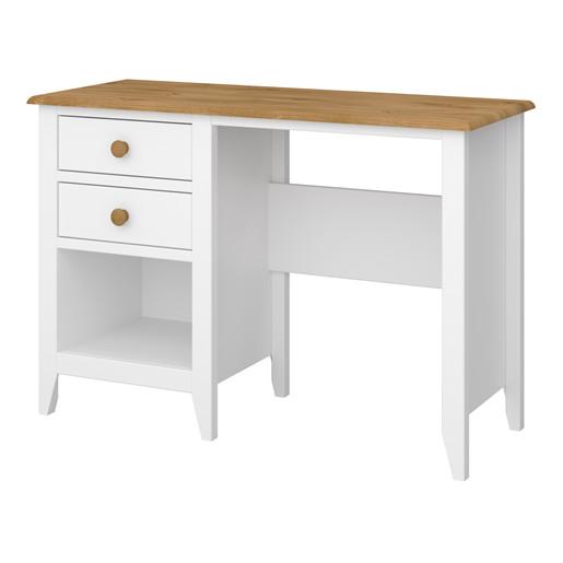 Schreibtisch HERA mit 2 Schubladen aus MDF in weiß/honig