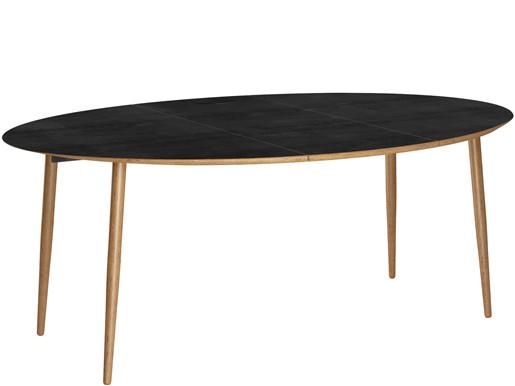 Esstisch MORTEN Ø120 cm mit Tischerweiterung, MDF in schwarz