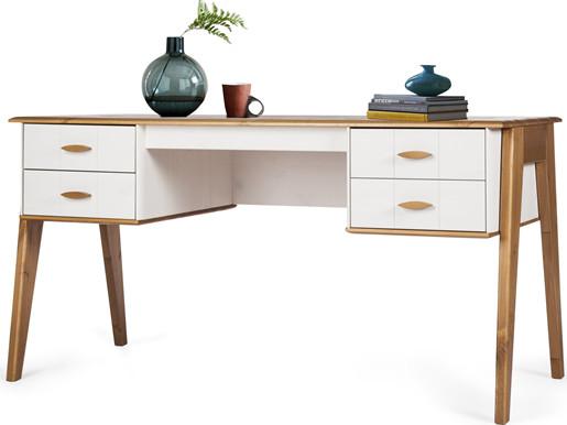 Schreibtisch MARU Kiefer in weiß & eiche lasiert