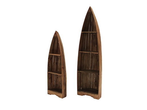 2er-Set Regal BOAT in Bootsform aus Mahagoni in braun
