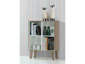 Kleines Bücherregal ROBY 4 Fächern 60 cm Breite, weiß-Birke