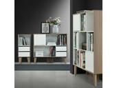 Kleines Bücherregal ROBY mit Schubladen MDF in weiß-Birke