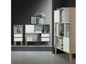 Bücherregal ROBY mit Schubladen und Tür in weiß-Birke