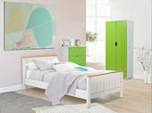 Kleiderschrank NELSON Höhe 180 cm aus FSC®- Holz weiß & grün