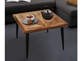 Couchtisch TANIA 65x65 cm aus Mangoholz mit Metallbeinen