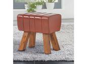 Hocker NEMO aus Kunstleder mit Holzbeinen, braun