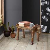 Sitzhocker VIVIAN aus Mangoholz in braun/bunt Vintage Design