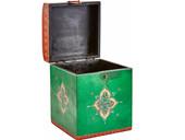 Holztruhe VITA aus Massivholz in rot/grün im Vintage Design