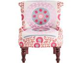 Sessel JAMAICA aus Stoff mit Stickereien, rosa