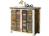 4-trg. Schrank SCARA aus Recycling Holz in creme/bunt