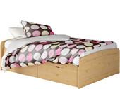 Bett RONJA 140x200 cm gebeizt geölt mit 1x Bettkasten-Set