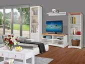 TV Lowboard YORK aus Kiefer massiv in weiß /honig