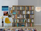 Bücherwand COMFORT 5x5 aus Eiche massiv, geölt