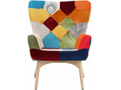 Sessel WALTER mit Hocker im bunten Patchwork-Design