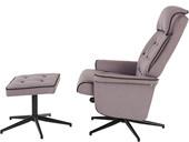 Relaxsessel NORTON mit Hocker aus Webstoff in grau/schwarz