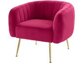 Sessel MELLO aus Samtbezug rot mit goldfarbenen Metallbeinen