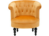 Sessel BASTIAN mit Samtbezug in goldfarben, Sitzhöhe 45 cm