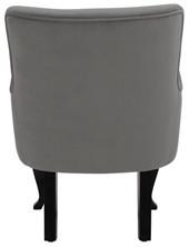 Armsessel mit Hocker DOM, Samtbezug in grau mit Knopfheftung