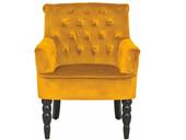 Sessel ALEXA mit Samtbezug in orange und Knopfheftung