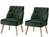 2er-Set Sessel EDDA mit Samtbezug in grün, Sitzhöhe 42 cm