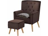 Sessel mit Hocker MICHI aus Samtvelours in braun