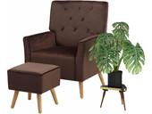 Sessel mit Hocker MICHI mit Relaxfunktion Samtvelours braun
