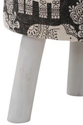 Hocker JAVIER mit Canvas Baumwollstoff mit Elefantenmotiv