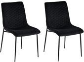 2er-Set Esszimmerstuhl OLGA mit Samtvelours Bezug, schwarz