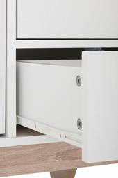 2-trg. Sideboard DAX mit 4 Schubladen in weiß/eiche
