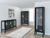 3-trg. Sideboard ARIES Metall mit Glastüren, 139 cm breit