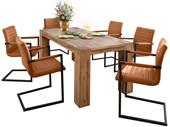 2er Set Stuhl SERENA mit Armlehnen aus PU in cognac