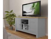 TV-Lowboard EMILY aus Spanplatte foliert grau und eiche