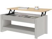Couchtisch EMILY mit herausziehbarer Tischplatte, grau/Eiche