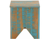 Truhe MOLLA 40 x 40 cm aus Kiefer massiv in Türkis