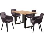 5-tlg. Essgruppe MEI 140cm mit Stühlen in dunkelgrau