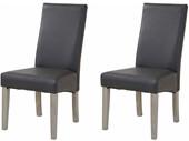 2-er Set Stuhl MADRID aus rattan in grau