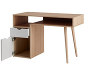 Schreibtisch ANDY mit Schublade & Holztür, weiß/Eichenfarbe