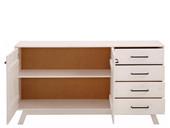 Sideboard NORDEA 4 Schubkästen Kiefer massiv weiß lackiert