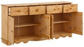 Sideboard CHANNIE mit 4 Türen aus Kiefer, gebeizt geölt