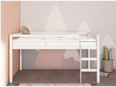 Hochbett ANTJE aus Kiefer massiv in weiß, 90x200 cm