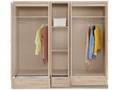 5-türig Kleiderschrank BLAIR mit Spiegel in eiche lasiert