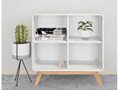 Offenes Bücherregal CARMEN mit 4 Fächern in weiß/weiß