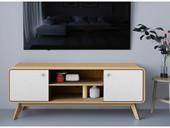 TV Lowboard CARMEN in natur mit 2 Türen in weiß, 140 cm