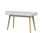 Schreibtisch CARMEN aus Spanplatte foliert  in weiß/ natur