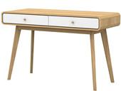 Schreibtisch CARMEN in natur mit 2 Schubladen in weiß