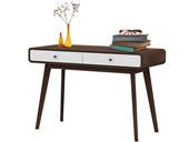 Schreibtisch CARMEN aus Spanplatte foliert in weiß & Walnuss