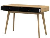 Schreibtisch CARMEN aus Spanplatte in eiche/schwarz