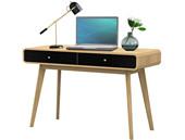 Schreibtisch CARMEN aus Spanplatte in eiche und schwarz