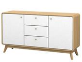 Sideboard CARMEN aus Spanplatte foliert in weiß und Natur